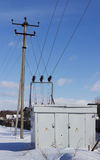 Electric substation in the winter Stock Image