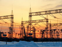 Electric substations in lifes of the person. Electric substations play greater role in lifes mankindn Royalty Free Stock Photography