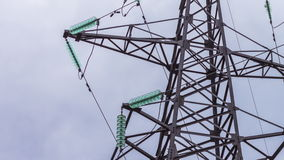Electric support close-up. Transmission of electricity by wire. Energy industry. Electric power transmission. Glass stock video