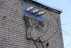 Electric support of high voltage power cables. Stock Photo