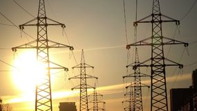 Electric support of high voltage power cables. Energy industry. Production, distribution and transmission of electricity. Power lines. Power substation in the stock video