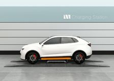 Electric SUV car exchange battery in battery swapping station. Fast battery exchange solution.  3D rendering image Stock Images
