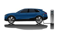 Electric SUV with charging station. royalty free stock photos