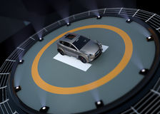 Electric SUV parking on the helipad Stock Images