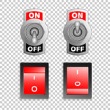 Electric switch buttons, on off position, 3d realistic vector object Stock Photography