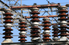 Electric switches in an electrical substation hydroelectric powe Royalty Free Stock Images