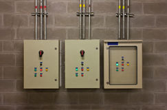 Electric system in cabinet royalty free stock photo