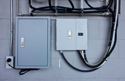 Electric system in cabinet Royalty Free Stock Images