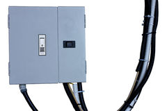 Electric system in cabinet  building system isolate blackground Royalty Free Stock Images