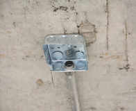 Electric system on ceiling in construction site Stock Photo