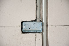 Electric system on wall in construction site Stock Image