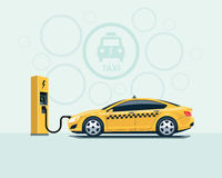 Electric Taxi Car Charging at the Charging Station Royalty Free Stock Image