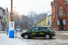 Electric-taxi charging battery Stock Images