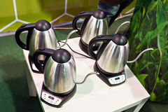Electric teapots for brewing tea. Four electric teapots for brewing tea Royalty Free Stock Photo