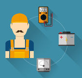 Electric technician man, vector illustration. Electric concept with icon design, vector illustration 10 eps graphic Royalty Free Stock Image