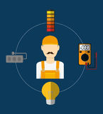 Electric technician man, vector illustration. Electric concept with icon design, vector illustration 10 eps graphic Royalty Free Stock Photography