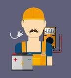 Electric technician man, vector illustration. Electric concept with icon design, vector illustration 10 eps graphic Stock Photo