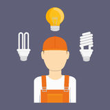 Electric technician man, vector illustration. Electric concept with icon design, vector illustration 10 eps graphic Stock Image