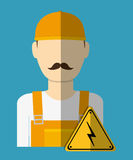 Electric technician man, vector illustration. Electric concept with icon design, vector illustration 10 eps graphic Royalty Free Stock Images