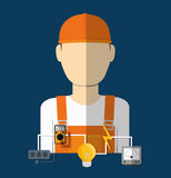 Electric technician man, vector illustration. Electric concept with icon design, vector illustration 10 eps graphic Stock Photography