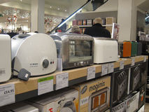 Electric toasters on display in a store. Stock Photos