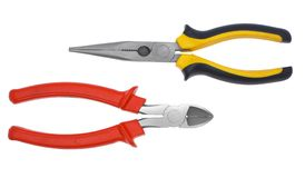 Electric tool. Electric tool flat-nose pliers a white background Royalty Free Stock Photos