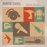 Electric tool flat  retro icons Stock Images