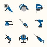 Electric tool flat vector icons set Stock Photos