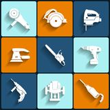 Electric tool flat vector icons set Stock Photography