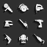 Electric tool flat vector icons set Stock Image