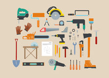 Electric Tool Flat Vector Icons Set Of Wood Stock Photo
