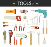 Electric tool flat vector icons set of wood Royalty Free Stock Images