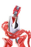 Electric tool, pliers with cables Royalty Free Stock Photos