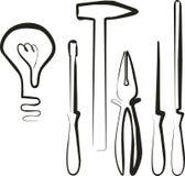 Electric tool set. In black vector illustration