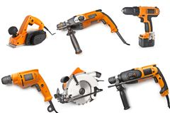 Electric tool set on white background Stock Image