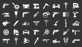Electric tools icon set grey vector. Electric tools icon set vector white isolated on grey background royalty free illustration