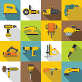 Electric tools icons set, flat style Royalty Free Stock Photography