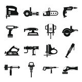 Electric tools icons set, simple style Stock Photo