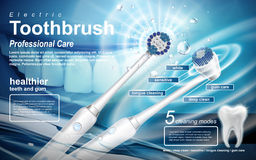 Electric toothbrush ad. Electric sonic toothbrush ad, this product includes five modes to be used royalty free illustration