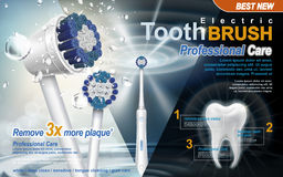 Electric toothbrush ad. Electric sonic toothbrush ad, with sonic wave and water drop elements, 3d illustration vector illustration
