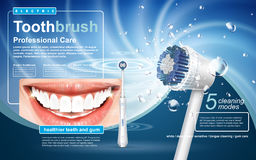 Electric toothbrush ad. Electric sonic toothbrush ad, with swirl light and beautiful teeth elements vector illustration
