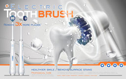 Electric toothbrush ad. Electric sonic toothbrush ad, white brush contacts tooth and makes it clean, 3d illustration royalty free illustration