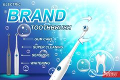 Electric toothbrush ads concept. Tooth model and product package design for poster advertising and marketing. 3d Vector stock illustration