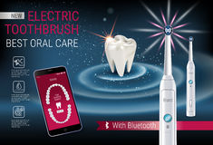 Electric toothbrush ads. Vector 3d Illustration with vibrant brush and mobile dental app on the screen of phone. Horizontal banner with high tech products Stock Photos