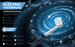 Electric toothbrush ads. Vibrant brush with whirlpool effects on dark blue background in 3d illustration, 5 cleaning modes royalty free illustration