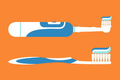 Electric toothbrush with toothpaste for brushing teeth, hello morning Royalty Free Stock Images