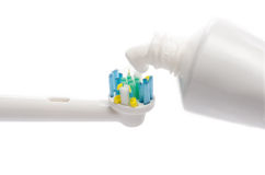Electric Toothbrushes with Toothpaste Stock Image