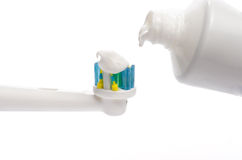 Electric Toothbrushes with Toothpaste Royalty Free Stock Photo