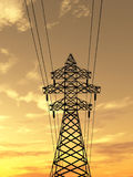 Electric tower. Electric powerlines over sunrise 3d Royalty Free Stock Images