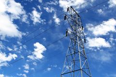 Electric tower. Electrical tower with lines and blue sky Royalty Free Stock Photography